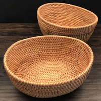 2pcs Lot Rattan Fruit Basket Kitchen Organization Vintage Dry Fruit Food Bowl Retro Daily Snack Storage