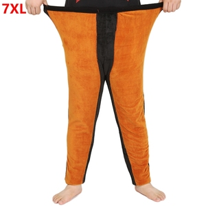 Супер Большое очень большое нижнее белье плюс размер мужские теплые брюки утолщение плюс бархат Длинные зимние Термобелье Брюки