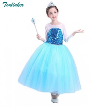 Tonlinker Girl Princess Cinderella Party Deluxe Costume Dress-Up Sequin Blue dresses Children christmas cosplay costume 2018 New