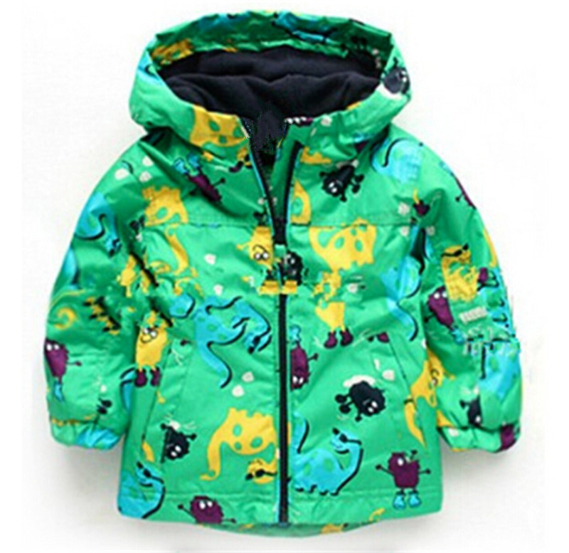 2bc29e32a24b0 Children Autumn Winter Outerwear Clothing Boys Dinosaur Hooded Rainsuit  Rain Coat Baby Kids Child Sports Clothes