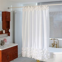 1.8x1.8m White Lace Waterproof Fabric Shower Curtain For Bathroom With Nickel Hooks