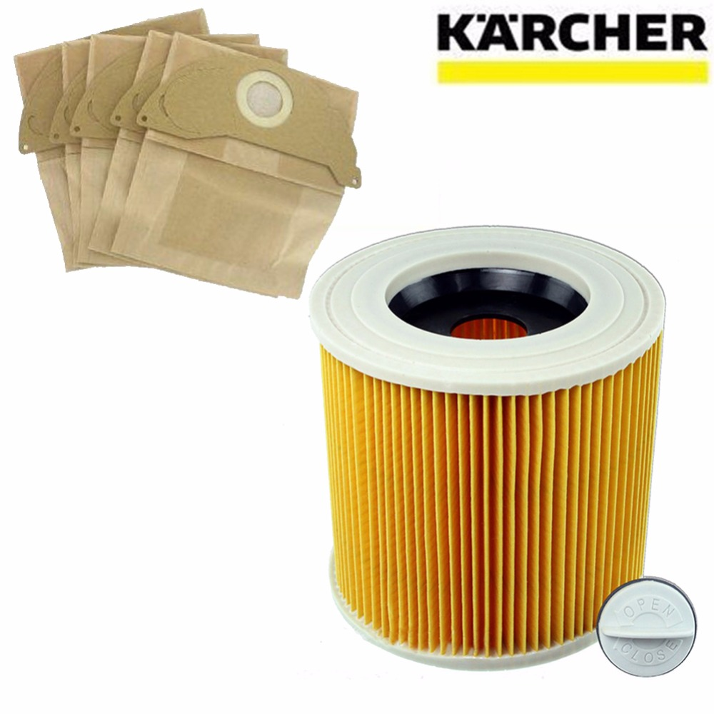 цена на 1Pcs dust Hepa filters+5Pcs paper bags for Karcher Vacuum Cleaners parts Cartridge HEPA Filter WD2250 WD3.200 MV2 MV3 WD3