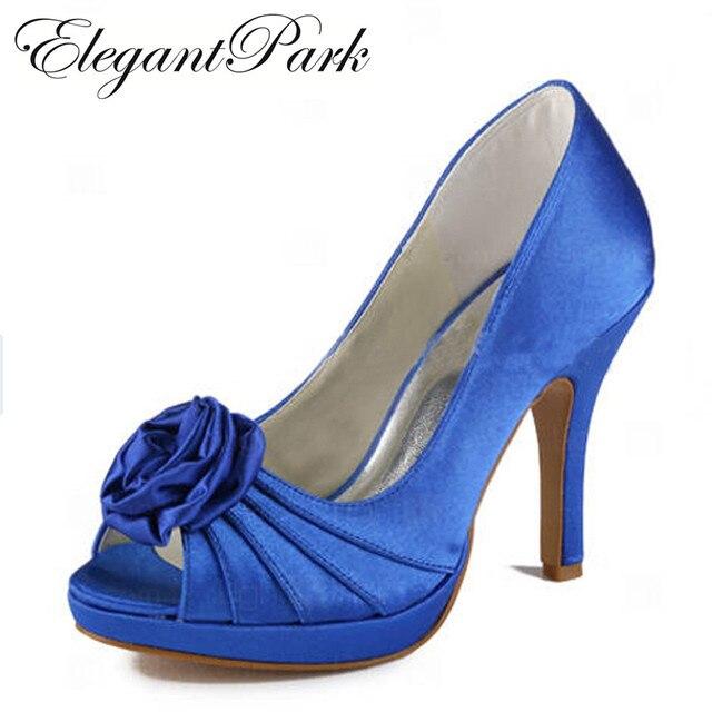 Woman high heels wedding bridal shoes Blue peep toe platform Flowers satin  lady bridesmaids prom evening pumps EP11043-PF 0e30dc4b4ef9