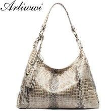 Crocodile Crossbody Composite-Handbags Arliwwi Shiny 100%Real-Leather Tassel-Designer