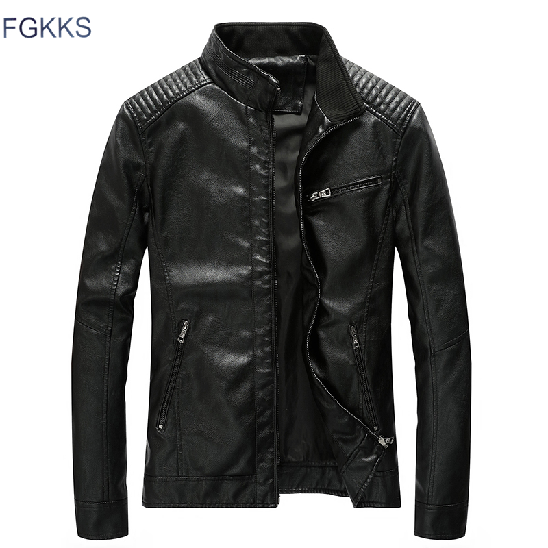 FGKKS Quality Brand Men Leather Jacket 2019 Autumn Winter Men's Stand Collar Leather Jacket PU Coats Male Thick Leather Jackets