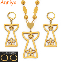 Anniyo Guam Flower Pendant Ball Beads Chain Necklace and Earrings for Women Girls Gold Color Guam Jewelry Trendy Sets #099921 a suit of graceful solid color flower necklace and earrings for women