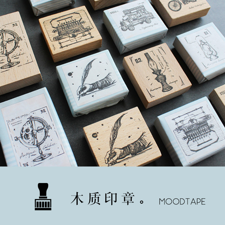 Moodtape Vintage Wood Clear Stamp For DIY Scrapbooking/photo Album Decorative Stamp Writer Lamp TypewriTeGlobe Rubber Stamp Seal