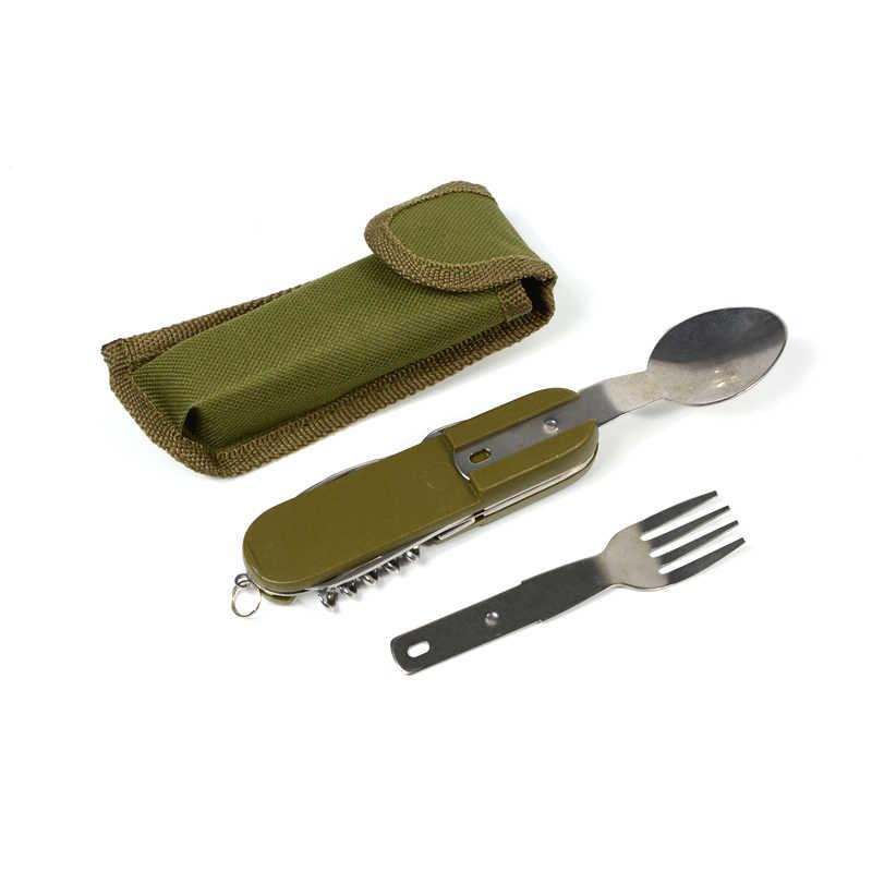 Pliant en acier inoxydable en plein air couverts Camping pique-nique couverts couteau fourchette cuillère décapsuleur vaisselle Portable Kit de voyage