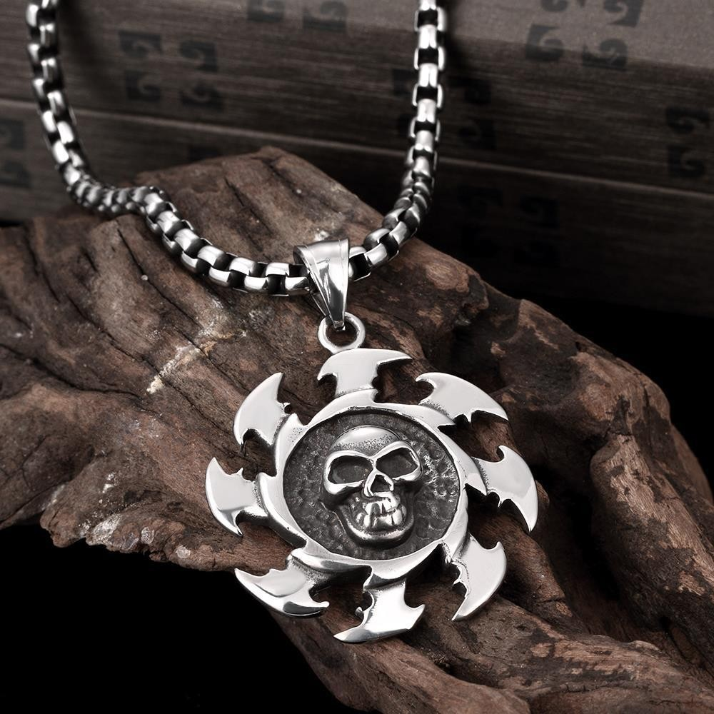 316L Steel Casual Skeleton Pendant Necklaces,Ancient Maya Courage&Power Co Men Bijoux Sporty Wheel Jewelry Gaya Perhiasan