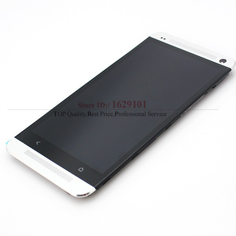 TOP Quality Mobile Replacement For HTC One M7 801e LCD Display with Touch Screen Digitizer Assembly + Frame White