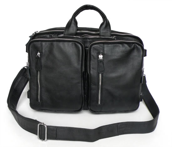 Vintage Black Men Bags Genuine Leather Bag Business Bag Briefcase Portfolio Real Leather Shoulder Men Messenger Bags #MD-J7041