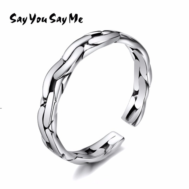 925 Sterling Silver Chain Rings Wholesale Wedding&Engagement Retro Unisex Openin