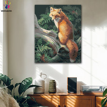 DIY Coloring paint by numbers Yellow fox in the forest figure paintings by numbers with kits 40x50 framed(China)