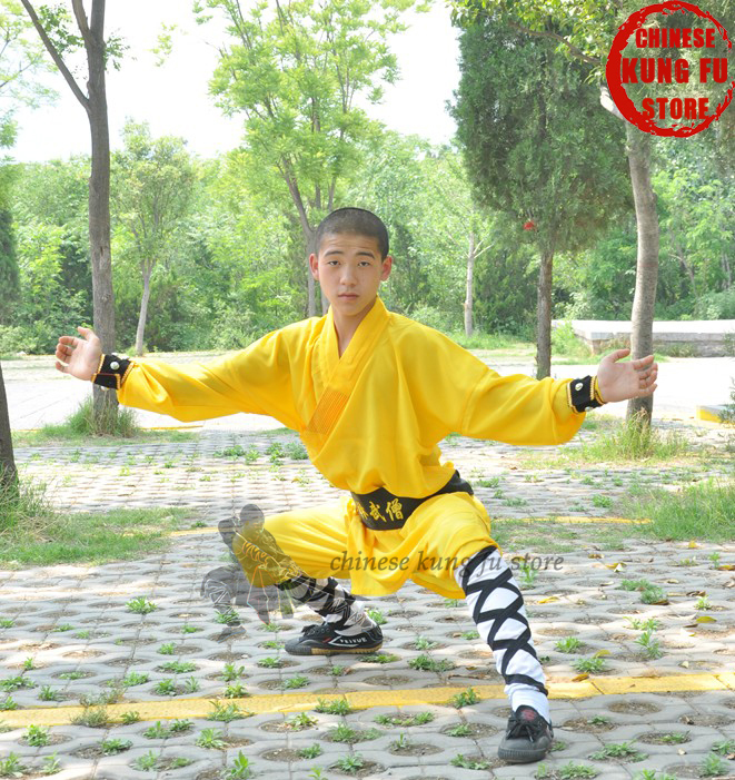 Yellow Polyester Shaolin Monk Performance Costume Martial arts Uniform Kung fu Tai chi Wing Chun Wushu  Karate Suit master recommend movement triangle frame wing chun wooden dummy donnie ye used standard kung fu wooden dummy martial arts