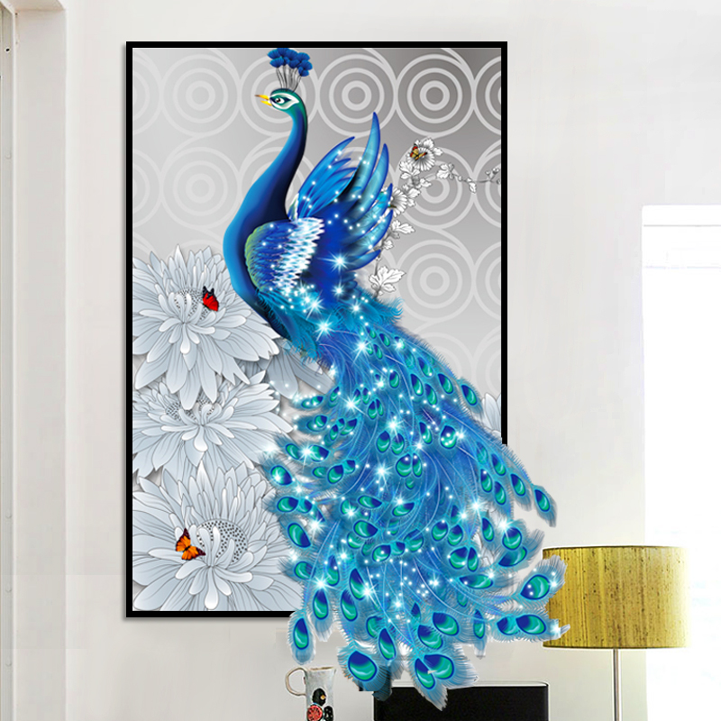 YIKEXIN Diamond Embroidery Animal Peacock Cross Stitch