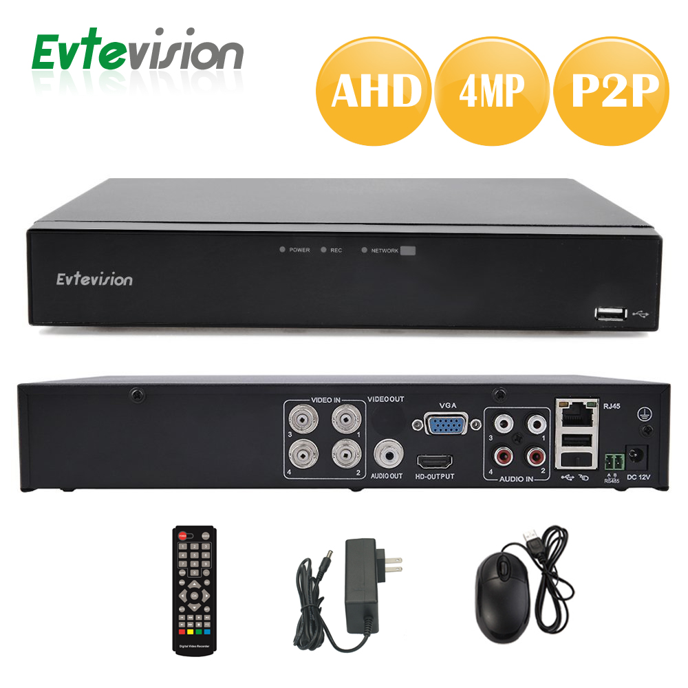 Evtevision 4 Channel 4MP AHD DVR H.264 Hybrid DVR Onvif NVR P2P Cloud Mobilephone view  USB 3G&Wifi fits for 3MP 4MP AHD Camera 8ch 5mp 3mp 1080p h 264 onvif wifi 3g with smart function nvr