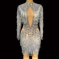 Блестящие Серебряные стразы платье для женщин на день рождения Праздничный костюм певица Bling кисточкой платья для выступления танец наряд