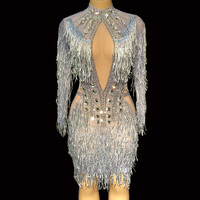 Sparkly Silver Rhinestones Dress Women Birthday Celebrate Costume Female Singer Bling Tassel Dresses Performance Dance Outfit DJ