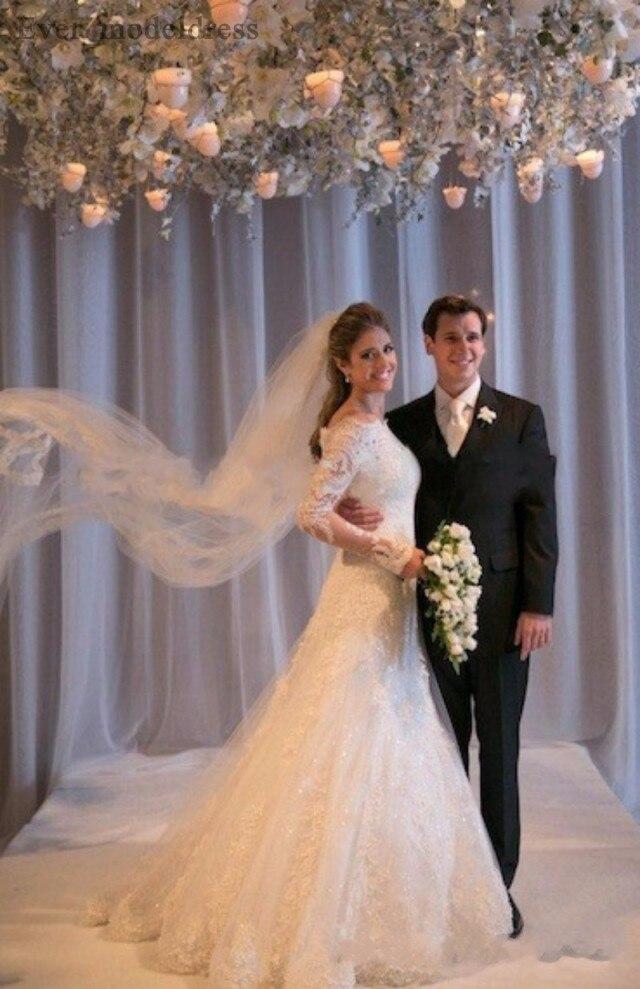Image 2 - Vestidos De Noiva suknie ślubne syrenka długie rękawy koronkowe aplikacje zroszony Sweep pociąg Plus rozmiar Off ramię suknia ślubna 2020Suknie ślubne   -