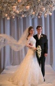 Image 2 - Vestidos De Noiva suknie ślubne syrenka długie rękawy koronkowe aplikacje zroszony Sweep pociąg Plus rozmiar Off ramię suknia ślubna 2020