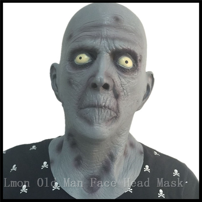 free shipping halloween terror mask old man elderly bald latex mask full face scary head cover party costume alien headgear mask in party masks from home