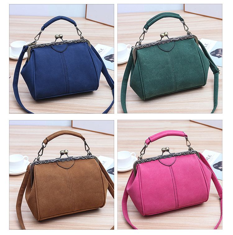 Women PU Leather Purse Retro Fashion Top Handle Handbag Kiss Lock Crossbody Shoulder Bag for Ladies (3)