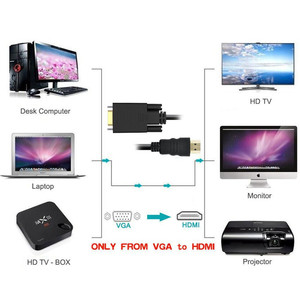 Image 2 - VGA to HDMI Converter Adapter with 3.5mm Audio and USB Charging Port for HDTV Monitor Projector VGA HDMI Cable