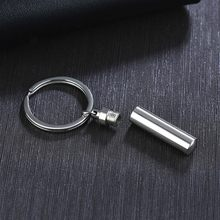 Stainless Steel Cylinder Urn Keychain for Men Women Bottle Hanging Pills Cremation Memorial Urn Jewelry for Ashes Time Capsule(China)