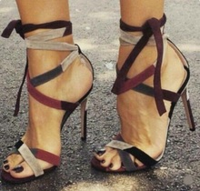 Mixed Colors Strappy Strappy Sandals For Women 2019 High Heels Lace-up Gladiator Sandals Shoes Cut-out Banqut Dress Shoes недорого