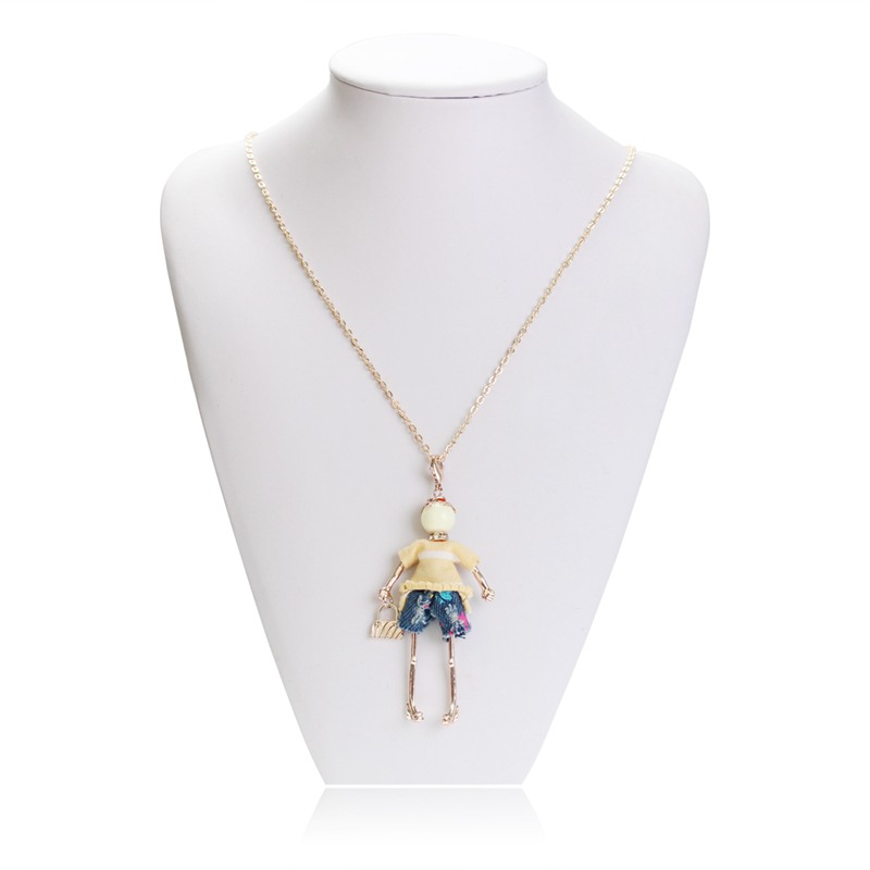 Fashion White Yellow T Shirt Doll Necklace Beautiful Handbag Cute Little Girl Doll Pendant Necklace Long Chain Necklace Women in Pendant Necklaces from Jewelry Accessories
