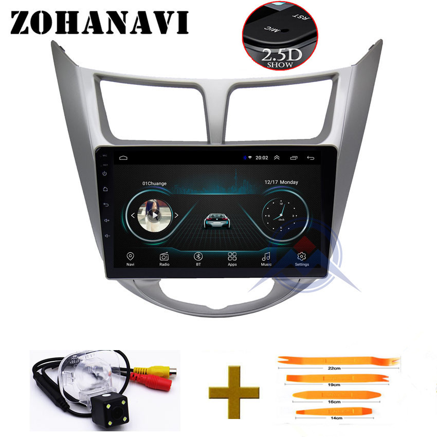 ZOHANAVI Android 2 5D Screen 9 inch Car DVD GPS For solaris Accent Verna 2011 2017