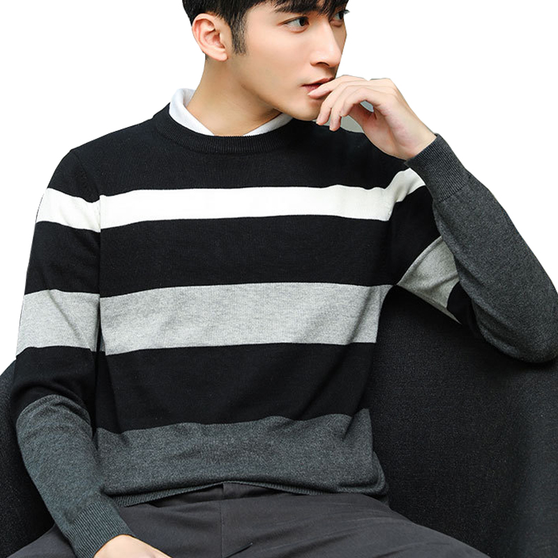 Autumn Men's Pullover Wool Sweater 2019 New Casual Plus Size Patchwork Knitted Men's Sweater Cotton Slim Men Wool Sweater 5XL