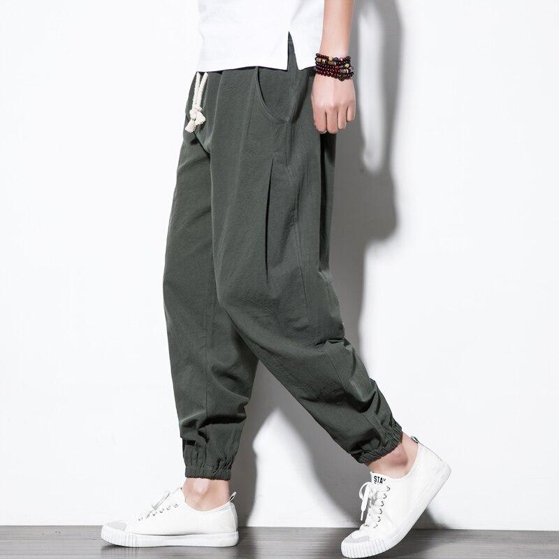 Linen Pants Men Casual Sweatpants Elastic Waist Traditional Chinese Trousers Hip Hop Les Pantalons Homme