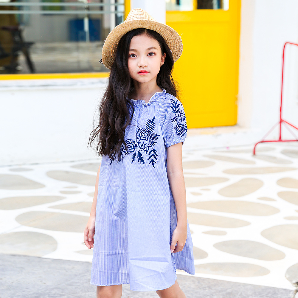 5e87fe60a999 4 to 16 years kids teenager big girls summer blue striped embroidery flower  cotton casual dress fashion Korea children clothing