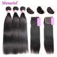 Mesariel Malaysian Straight Hair Bundles With Closure Human Hair 3 Bundles With Closure Non-Remy Hair Extension(China)