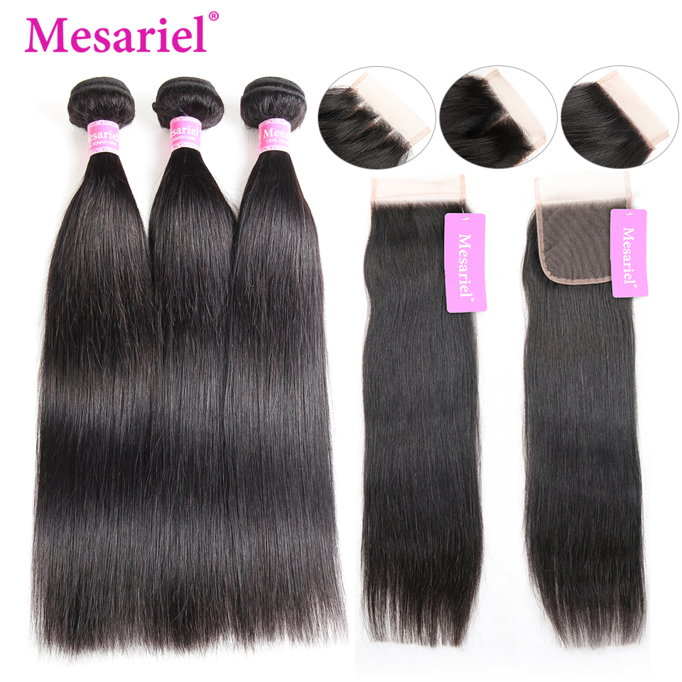 Mesariel Malaysian Straight Hair Bundles With Closure Human Hair 3 Bundles With Closure Non Remy Hair Extension