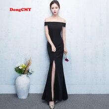 DongCMY WT3067 платья для выпускного вечера 2018 г. Новые пикантные Длинные Черный цвет модные большие размеры вечерние сладкие вечерние платье