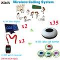 Garçom sistema de chamada de campainha botão elegante de chamada sem fio para o restaurante ( 2 pcs display + 3 pcs assista + 35 pcs botão de chamada )