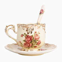 Yolife Ivory Porcelain Coffee Cup Saucer Spoon Set Elegant Light Luxury Espresso Cups Style Beatiful Gift 250ML