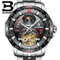 Швейцарские автоматические механические часы  мужские BINGER  люксовый бренд  мужские часы с сапфировым Tourbillon  водонепроницаемые