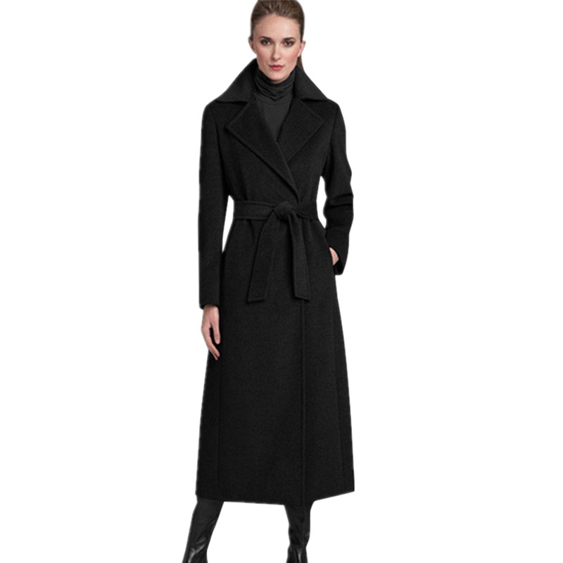 Women's Cashmere Coat Black Womens Wool Long Winter Coat Parka Trench Coat Outwear Tops plus size manteau femme ladies coats