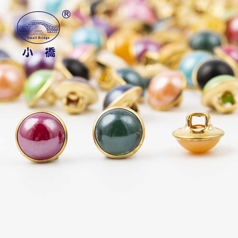 20 Pcs Logam Bawah Jahit Mutiara Tombol Acryl Tangan Membuat Berlian Imitasi Tombol Campuran Warna Tombol Dekoratif untuk Pakaian S150