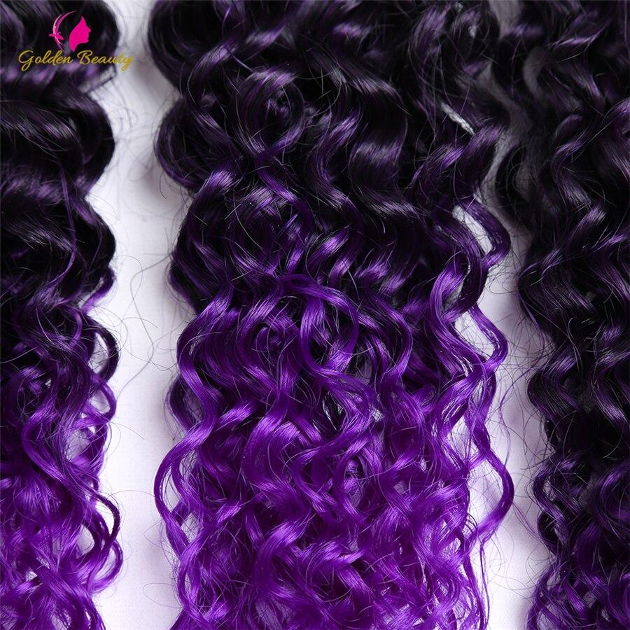 Golden Beauty 6st / pack Kinky Curly Sy i väv Hair Extensions 14-18 - Syntetiskt hår - Foto 2
