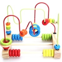 Abacus Wire Maze Wire Roller Coaster Wooden Baby Math Toys Counting Circles Bead Wooden Math Educational
