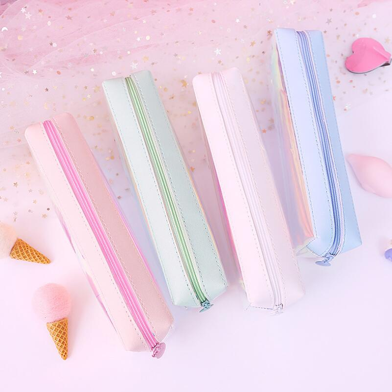 Creative Cute Stationery Box Transparent Pencil Bag Laser Bag Small Storage Bag for Home Gifts for Guests or Children 39 s Birthday in Party Favors from Home amp Garden