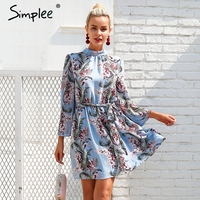 Simplee Backless Lace Up Summer Dress Women Flare Sleeve Floral Print Chiffon Dress Beach Casual Short