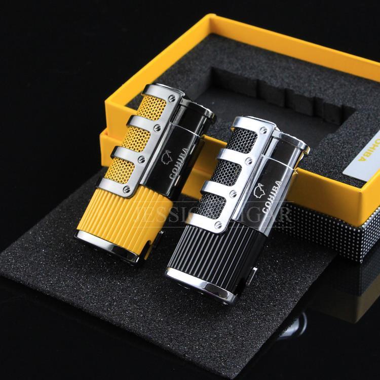 COHIBA гаджеты высокого класса для Ветрозащитный сигары Факел зажигалки многоразового бутан огонь Встроенный удар прикуривателя