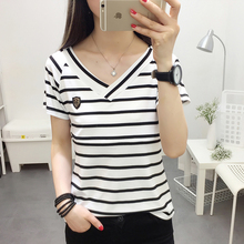 6190# V Neck Striped Cotton Maternity Nursing T Shirt Summer Casual T-shirt Clothes for Pregnant Women Pregnancy Feeding Tee Top