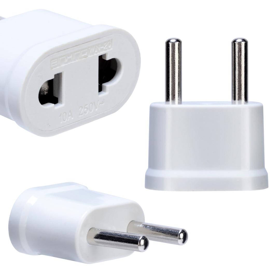 Pohiks 1pc eua eua para europa da ue adaptadores branco de alta qualidade ac viagem power plug adaptador conversor carregador parede
