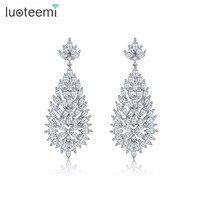 Teemi 2016 Latest Fancy Professional AAA CZ Bridal Wedding Design White Gold Jewelry Heavy Earrings For